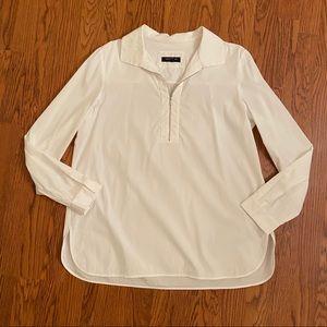 Lafayette 148 White Collared Quarter Zip Shirt